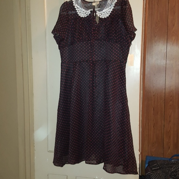 Black Dress W Red Polka Dots White Lace Collar Nwt